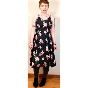 80s Vintage Black and Pink Floral Midi Dress